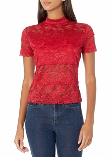 GUESS Women's Shayna Short Sleeve Lace Mock Neck Top WEAR ME RED