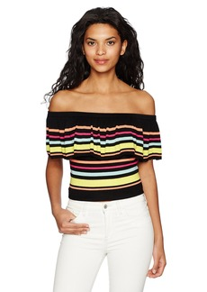 GUESS Women's Short Sleeve Amina Off Shoulder Striped Top