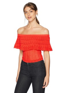 Guess Women's Short Sleeve Amina Off Shoulder Sweater Sweater -red lava M