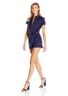 Guess Women's Short Sleeve Anja Belted Faux Suede Romper