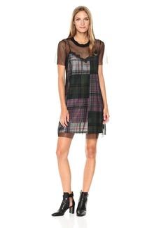 GUESS Women's Short Sleeve Cass Mesh Tshirt Dress
