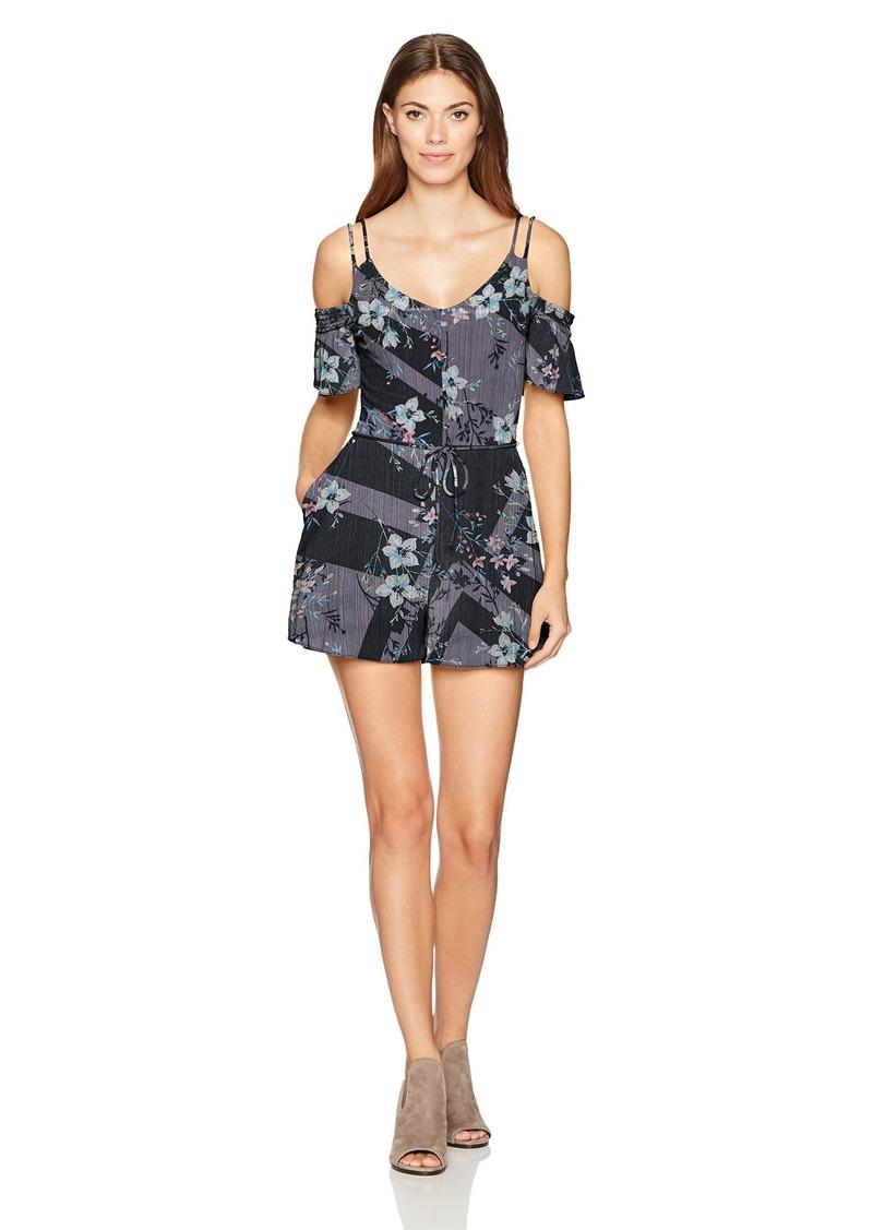 GUESS Women's Short Sleeve Cold Shoulder Betty Romper Magic Floral Jet Black L