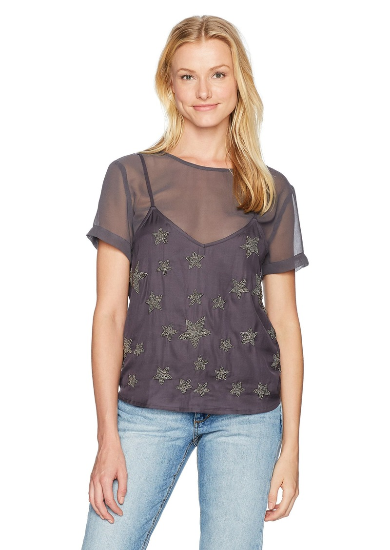 GUESS Women's Short Sleeve Colton Beaded Stars Top