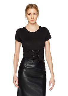 GUESS Women's Short Sleeve Corset Tee Shirt Bodysuit  L