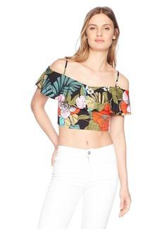GUESS Women's Short Sleeve Greyson Ruffle Top  XS
