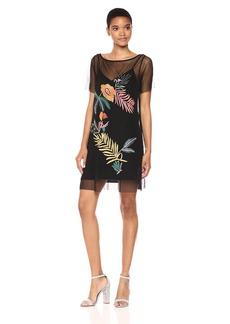 Guess Women's Short Sleeve Jimena Tropic Dress  L