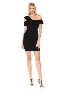 GUESS Women's Short Sleeve Kenley Ruffle Sweater Dress  M
