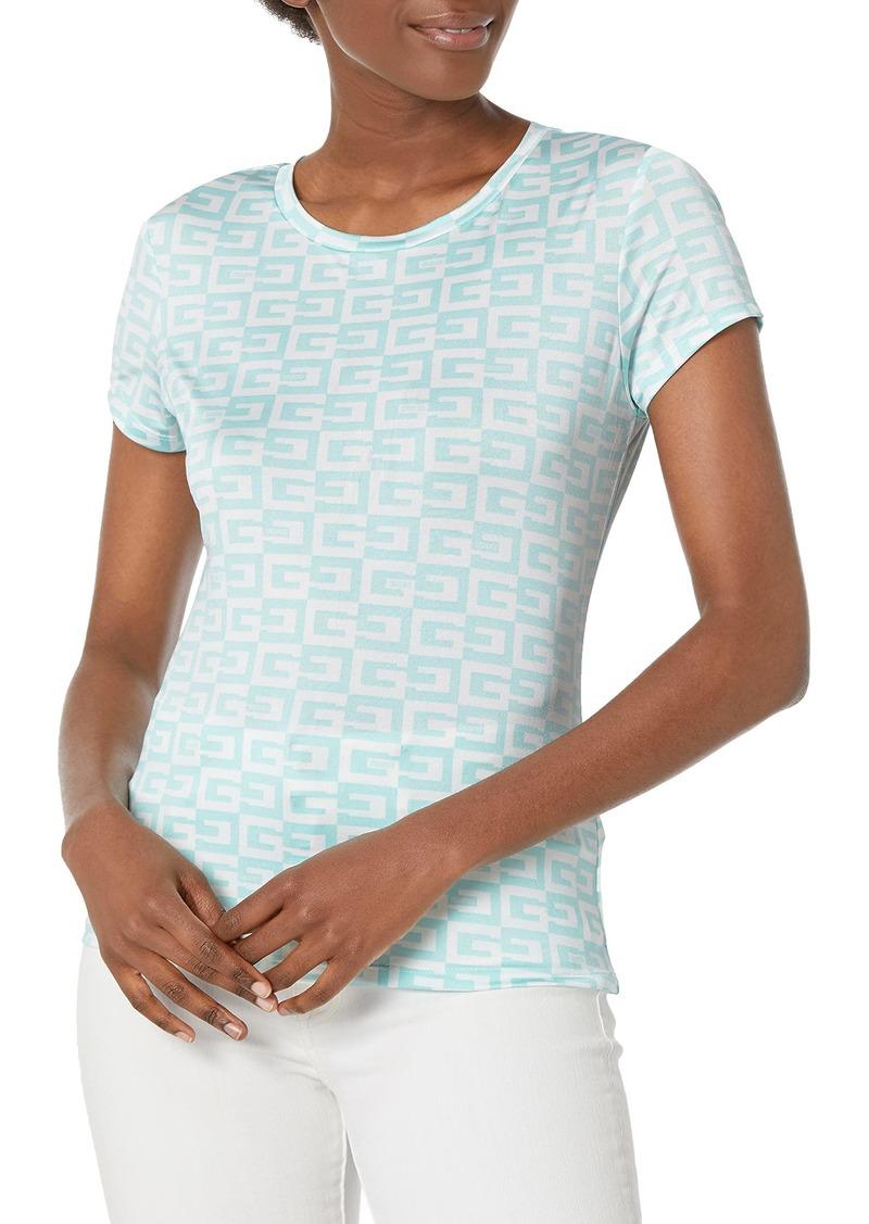 GUESS Women's Short Sleeve Logo Tee G Checker Allover Print Lt AQU