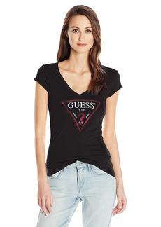 GUESS Women's Short Sleeve Logo Vneck T-Shirt Jet Black A M