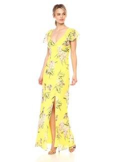 GUESS Women's Short Sleeve Loyola Maxi Dress Tropic iris Aurora