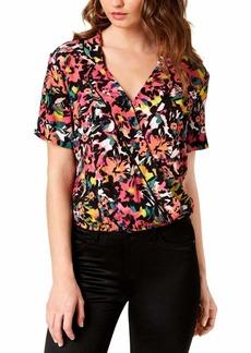 Guess Women's Short Sleeve Margarita Top Shirt -lucid jungle black print XS