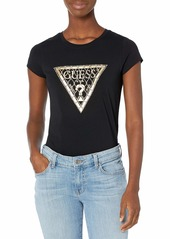 GUESS Women's Short Sleeve Mesh Chain Logo Tee