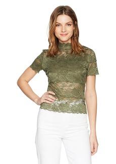 GUESS Women's Short Sleeve Mock Neck TOP  XS