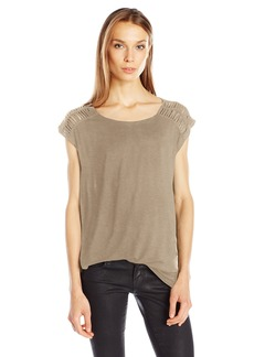 GUESS Women's Short Sleeve Olive Knotted Detail Tunic  S