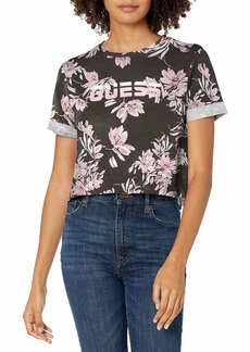GUESS Women's Short Sleeve Printed Cropped Logo Active T-Shirt  M