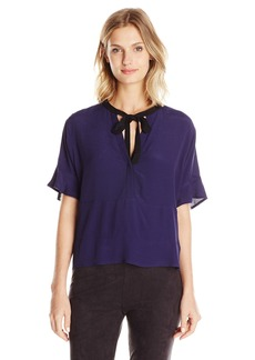 Guess Women's Short Sleeve Printed Lorna Floral Blouse