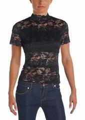 GUESS Women's Short Sleeve Shannon Mock Neck Top  a XS