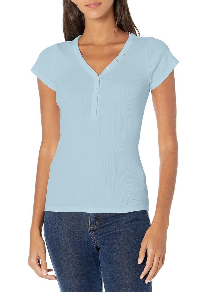 GUESS Women's Short Sleeve V-Neck Henley