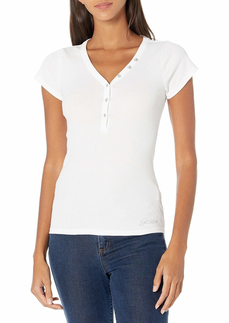 GUESS Women's Short Sleeve V-Neck Henley  Extra Small