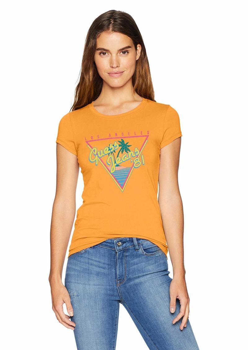 Guess Women's Short Sleeve Vintage Beach T-shirt Shirt -tangy orange L