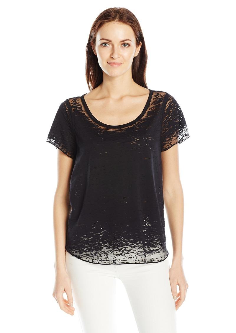 GUESS Women's Short Sleeve Waves Burnout T-Shirt Jet Black A A XS