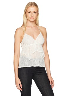 GUESS Women's Sleeveless Adrian Lace Peplum Camisole White alyssum L