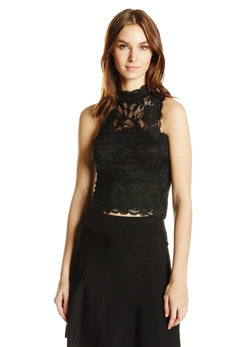 GUESS Women's Sleeveless Ali Mock Neck Lace Top Jet Black A A XL