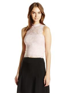 GUESS Women's Sleeveless Ali Mock Neck Lace Top  L