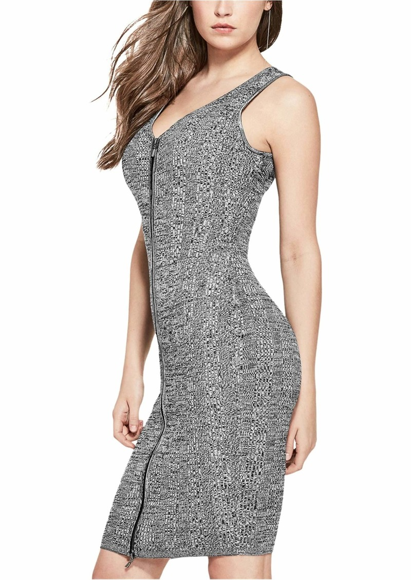 GUESS Women's Sleeveless Aliza Marled Zip Front Dress  L