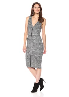 GUESS Women's Sleeveless Aliza Marled Zip Front Dress Heather  Charcoal M