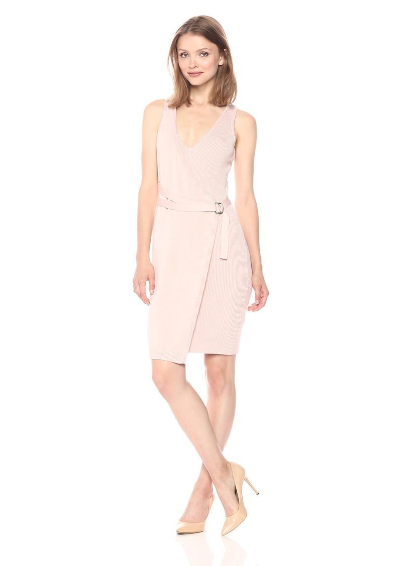 GUESS Women's Sleeveless Allison Faux Wrap Sweater Dress  L