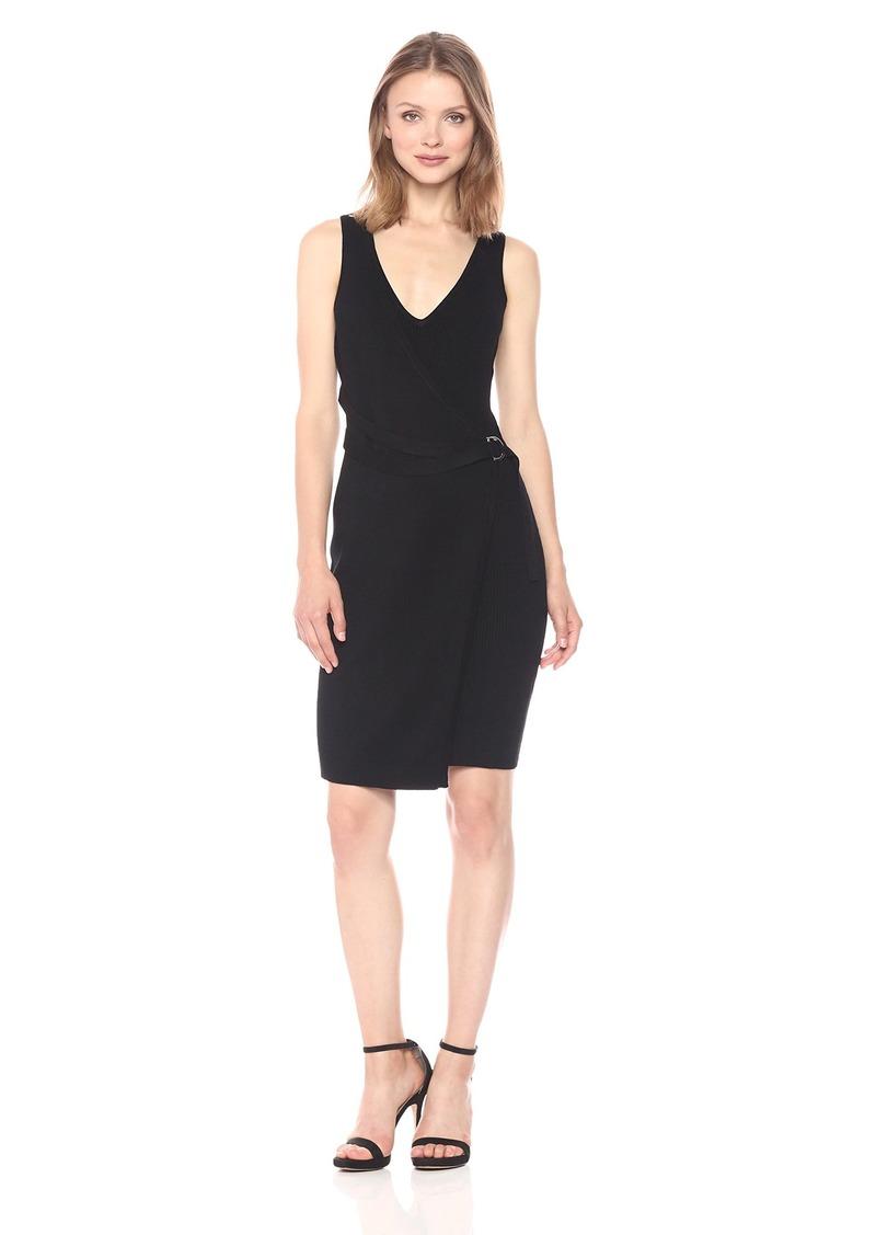 GUESS Women's Sleeveless Allison Faux Wrap Sweater Dress  XL