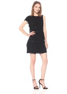 Guess Women's Sleeveless Asymmetrical Tyra Plisse Dress  S