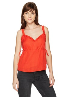 GUESS Women's Sleeveless Audrey Ruffle Camisole Poppy Red 17-1664TCX M