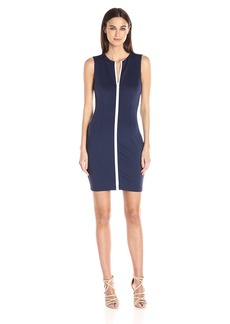 GUESS Women's Sleeveless Bianca Zipper Scuba Dress  L