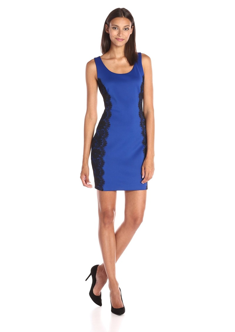GUESS Women's Sleeveless Bodycon Dress with Lace Paneling