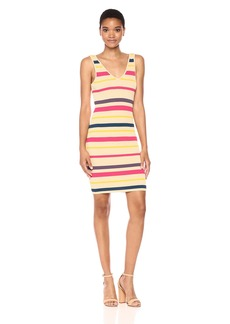 GUESS Women's Sleeveless Brit Stripe Tank Dress Mila Honey Peach M