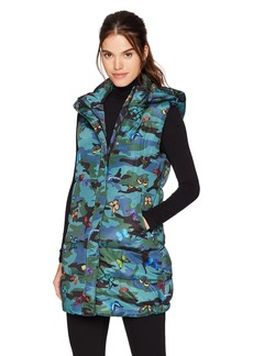 GUESS Women's Sleeveless Butterfly Patch Camo Puffer Vest  XL