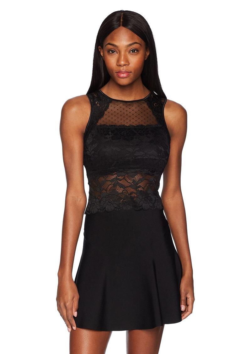 GUESS Women's Sleeveless Cascade Lace Top  a XL