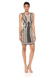 GUESS Women's Sleeveless Clara Jacquard Bodycon Dress  L