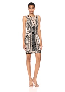 GUESS Women's Sleeveless Clara Jacquard Bodycon Dress  S