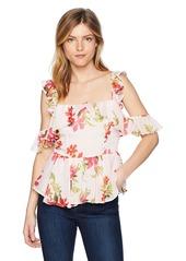 Guess Women's Sleeveless Daydream Chiffon Peplum Top Shirt -blooming gingham violet print XL