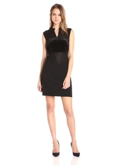 GUESS Women's Sleeveless Elora Lace Mix Dress  L R