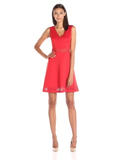 GUESS Women's Sleeveless Fit and Flare Scuba Dress with Laser Cut Detailing