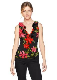 Guess Women's Sleeveless Franco Ruffle Top Shirt -coastal bloom black print M