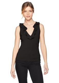Guess Women's Sleeveless Franco Ruffle Top Shirt -jet black a XS