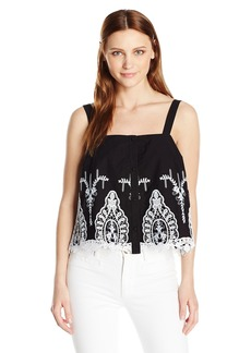 GUESS Women's Sleeveless Genevive Embroidered Top Jet Black A A XL