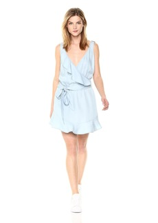GUESS Women's Sleeveless Gianna Ruffle Dress Super Bleached wash M