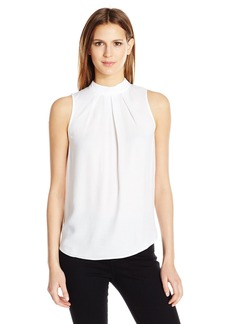 GUESS Women's Sleeveless Hana Cross Pleated Shirt True White A A L