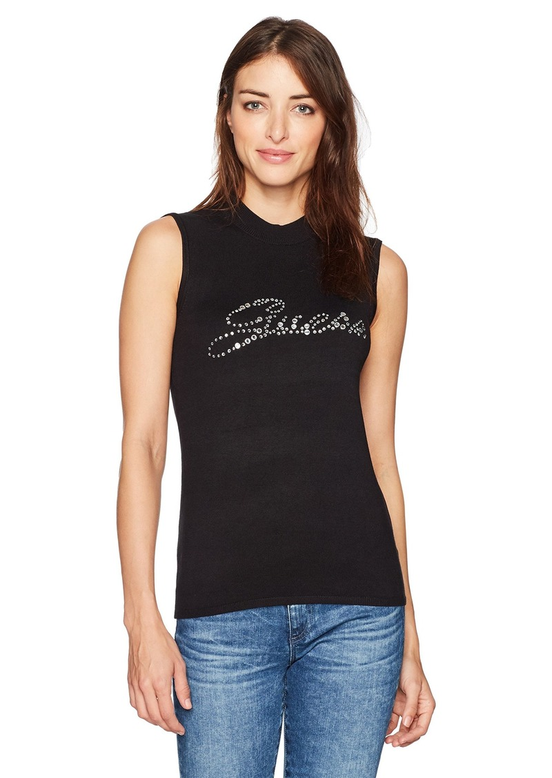 GUESS Women's Sleeveless Holly Snap Logo Sweater  a
